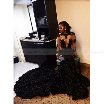 2017 African Black Lace Mermaid Prom Dresses with 3D Rose Flowers Long Graduation Party Dress Sheer Long Sleeve Evening Dress