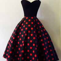 Red and Black Polkadot Swing Dress, Rockabilly BETTIE Halter, Pin Up 1950s Style Swing Dress, Polkadot Pinup Birthday Special Occasion