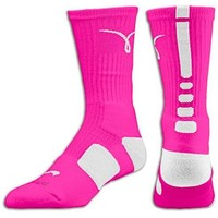 Nike Elite Basketball Crew Socks-Men's Pink / White Medium / Large Breast Cancer