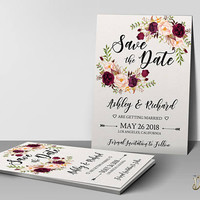 Boho Floral Save the Date Template, Editable Rustic Save the Date Burgundy Blush Save the Date Printable Save the Date card, Edit w Templett