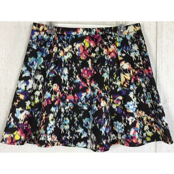 Lily Rose Ikat Floral Scuba Skirt Watercolor Skater Circle Flare Black Purple XL