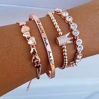 Crown Heart Bracelet Stack