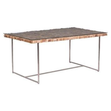 Collage Dining Table Brushed Stainless Steel