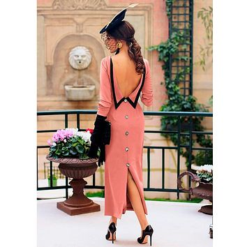 Backless vintgae dress of women Classical back button long sleeve spring maxi dress Evening elegant long party dresses vestidos