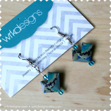 Teal Damask 3D Origami Paper Heart Earrings - OOAK - Recycled Magazine