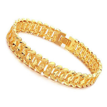 Shiny 18K Gold Plated Rhombus Metal Link Chain Bracelet Men Jewelry