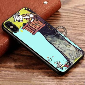 Calvin & Hobbes Playing On A Tree iPhone X 8 7 Plus 6s Cases Samsung Galaxy S8 Plus S7 edge NOTE 8 Covers #iphoneX #SamsungS8
