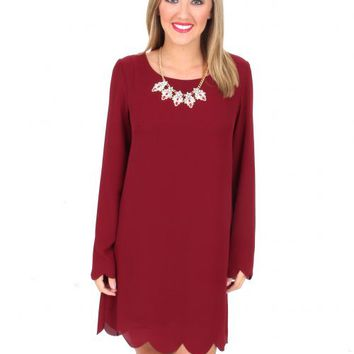 Hey Pretty Girl Burgundy Scalloped Shift Dress | Monday Dress Boutique