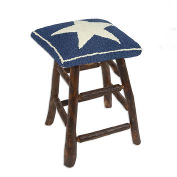 "Blue Star Hickory Counter Stool 15""L X 15""W X 24""H"