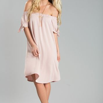 Tammy Pink Off the Shoulder Shift Dress