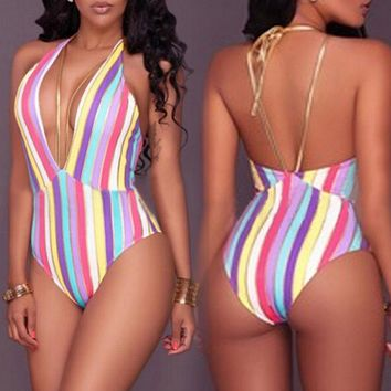 Rainbow Backless One Piece Sexy Striped Sleeveless jumpsuit