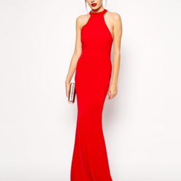 Jarlo Tall Halterneck Maxi Dress With Bow Back