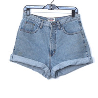 Vintage 90s Hipster Grunge // Super High Waist Guess Denim Shorts // Light Medium Wash // Size Medium / Large