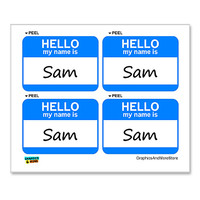 Sam Hello My Name Is - Sheet of 4 Stickers