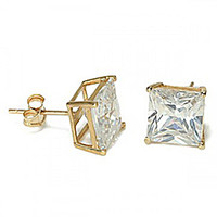 14K Gold Princess CZ Hand Set Stud Earrings