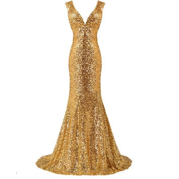 Luxury Long Gold Evening Sequin Mermaid Evening Dress Gown with Deep V