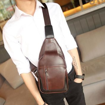 Men Leather Sling Pack Chest Bag for Travel