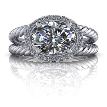 Free Center Stone! Celestial Premier Oval Moissanite Ring - Diamond Halo Split Shank Engagement Ring Setting - Customize