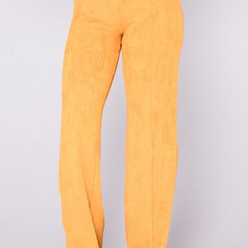 Get In Formation Suede Pants - Mustard