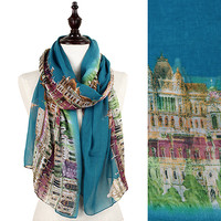 Blue City-Scape Scarf
