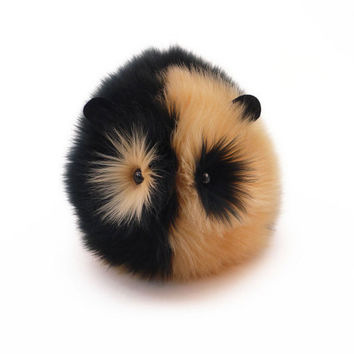 Reserved for Jacquie Black and Tan Faux Fur Guinea Pig Plush 6x10 Inches Large Size