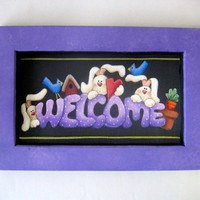 Welcome Spring Bunnies, Sign, Tole Painted, Framed in Green or Lavender, Spring