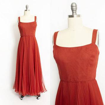 Vintage 1970s Dress - Rust Red Chiffon Pleated Full Length Gown - Medium