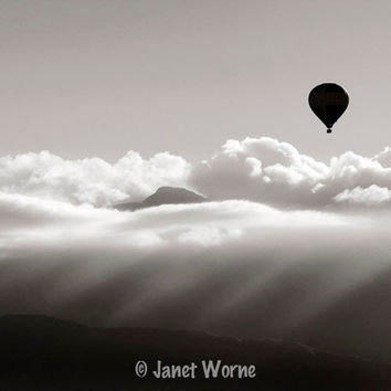 Cloud Photography, black and white fine art photograph, hot-air balloon