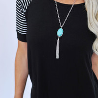 Silver/Turquoise Tassel Necklace