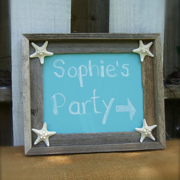 Chalkboard Rustic Barn Wood with Aqua Blue, Starfish Home Decor, Beach Wedding, Destination wedding, Infant Photo Prop, Engagement Photos