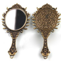 Two Vintage Bronze Mirror Pendants on Luulla