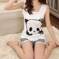 Nightgown/Panda cartoon printed vest suit / pajamas / women tracksuit//Summer wear
