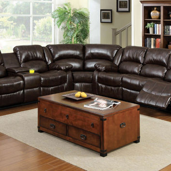 Furniture of america CM6556-SEC 3 pc winslow rustic brown bonded leather sectional sofa set with recliners