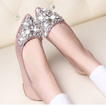 Ballet Leisure Pointy Fashion Rhinestone Drill Crystal Flat