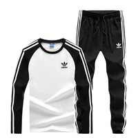 Adidas New fashion letter print stripe contrast color splice long sleeve top and pants two piece suit Black