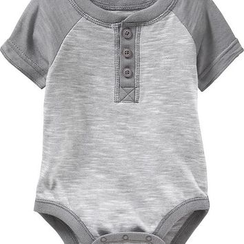 Old Navy Short Sleeved Henley Bodysuits For Baby