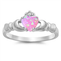 Pink Opal Silver Claddagh Ring