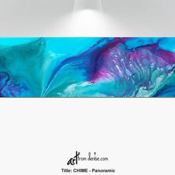 "Purple Teal Watercolor Canvas Panoramic, Aqua blue turquoise navy plum berry, Large horizontal print up to 72"" wide"