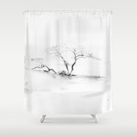 Scots Pine, Gray Shower Curtain by Gréta Thórsdóttir  #gotland #BalticSea #waterfront #black #white #tree #mist #bedroom