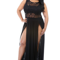 Plus Size Black Mesh Lace Cut-out Double-Slit Maxi Dress