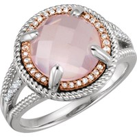 Sterling Silver Rose Gold Plated Rose Quartz & 1/8 CTW Diamond Ring
