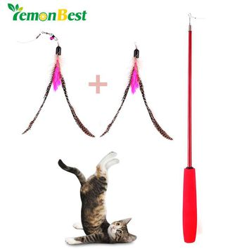 LemonBest Retractable Teaser Cat Catcher Fishing Pole Wand Rod with 2pcs Bird Feather Assorted Feather Toy Great for Kitten Dog