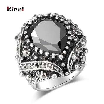 Kinel Vintage Ethnic Tibetan Silver Color Jewelry Goth Punk Style Black Resin Antique Geometric Rings For Women Free Shipping