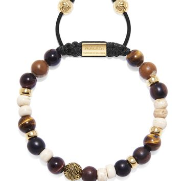 Men's Beaded Bracelet with Brown Tiger Eye, Red Tiger Eye, Jasper, Ebony and Bone Beads