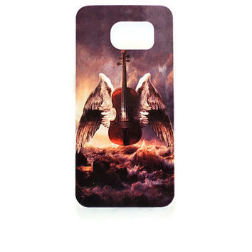Samsung Galaxy S6 Violin Case Hard Plastic Galaxy S6 Angel Wings Back Samsung S6 Music S921