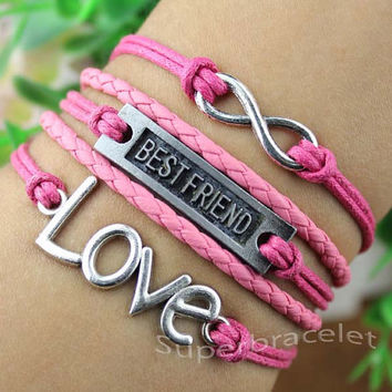 Best friend friendship bracelet - unique LOVE bracelet - mei red leather cord bracelet - infinity bracelet - girlfriend and BFF