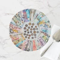 Pretty, pastel colored foreign currency cake stand