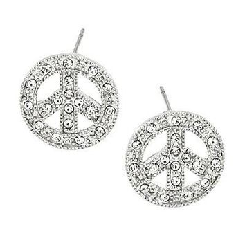 Silver Rhinestone Sparkling Peace Signs