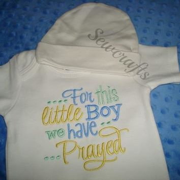 For This Little Boy We Have Prayed Coming Home Outfit with Personalized Hat Going Home Outfit