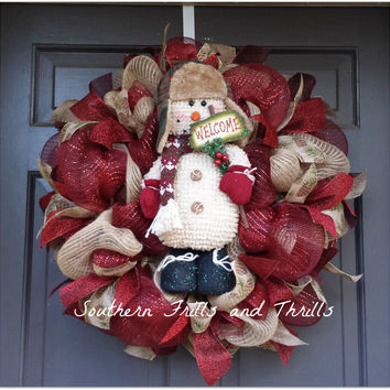 Christmas Wreath, Christmas Decor, Holiday Wreath, Snowman Wreath, Primative Wreath, Burlap Wreath, Jute Wreath, Christmas Door Hanger